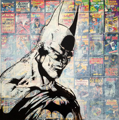"""Batman"", 60 cm x 85 cm, Collage & Lack auf PCV, 2014   ___CHF 800.-"
