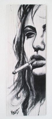 """Smoking"", 18 cm x 50 cm, Kohle auf Holz, 2015"