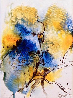 """Solero"", 8 cm x 24 cm, Acryl & Touche auf Leinwand, 2014   ___VERKAUFT"