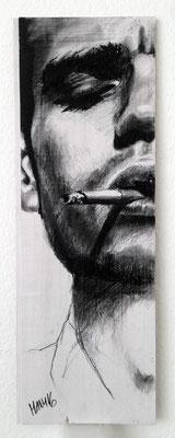 """""""Smoking Serie Thomas II"""", 19 cm  x 54 cm, Kohle auf Holz, 2016"""