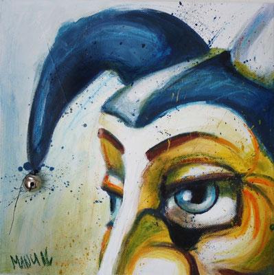 """""""Ueli"""", 15 cm x 15 cm, Acryl und Wachsstifte auf Leinwand, 2016 ___VERKAUFT"""