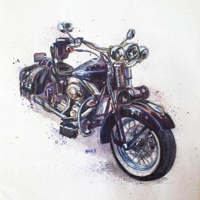 """""""Harley I"""", A3, Aquarell & Farbstifte, 2014"""