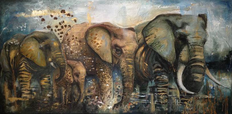 """""""Elephant Family I"""", 160 cm x 80 cm, mixed media, 2013"""