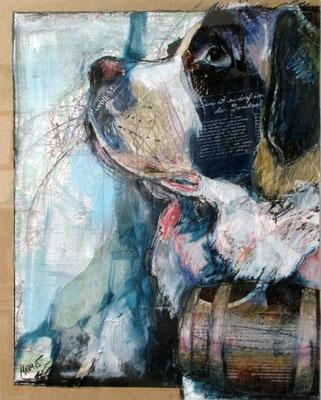 """""""Bergdorf"""", 50 cm x 40 cm, Mixed Media auf PVC, 2015 ___VERKAUFT"""