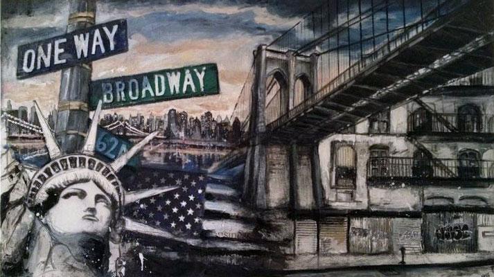 """New York"", 140 cm x 80 cm, Collage & mixed media, 2012"