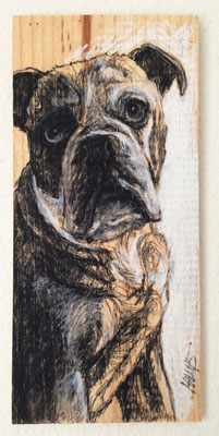 """Duke"", 15 cm x 33 cm, Kohle auf Holz, 2015"