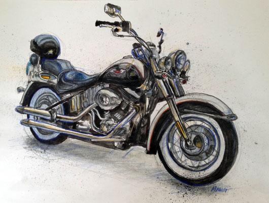 """Harley II"", A3, Aquarell & Farbstifte, 2014"