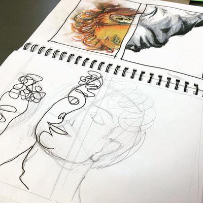 Jan Milczarek - Erste Skizzen zeigen in welche Richtung das Selbstporträt gehen könnte.