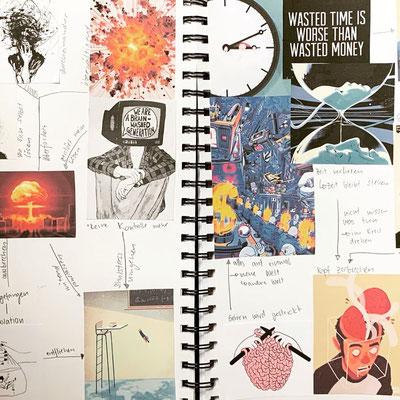 Das visuelles Brainstorming von Tamara Roos zu Beginn des Projekts.
