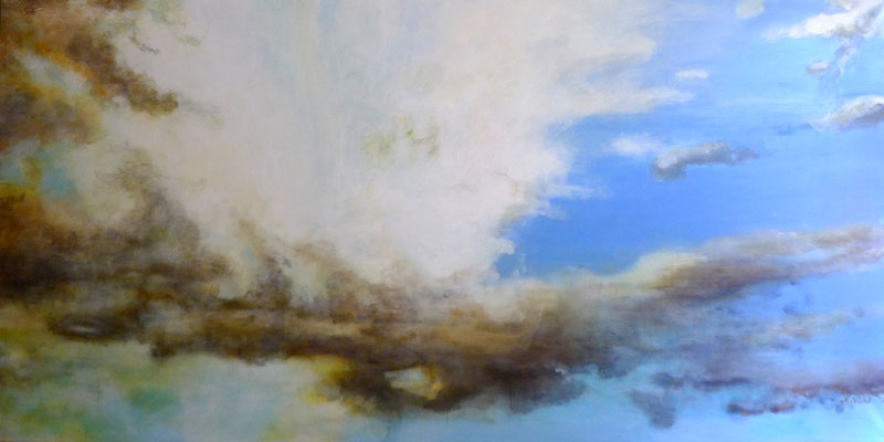 "Stephanie Nückel     ""Kreuzberger Himmel""   480 x 195 cm Acryl auf Leinwand  2017  für Restaurant Kreuzberger Himmel"