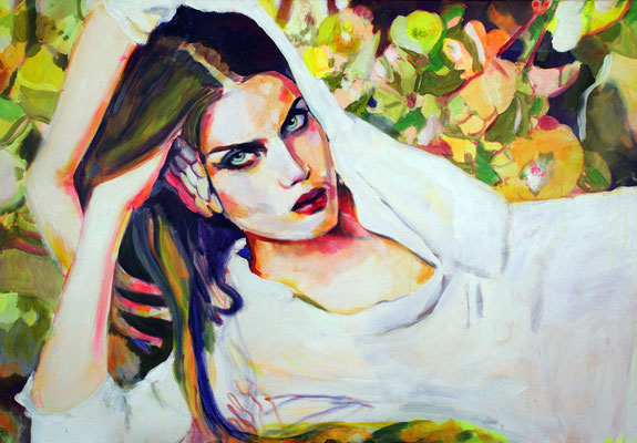 Stephanie Nückel   Wolfsmilch  130 x 90 cm    Acryl auf Leinwand      2016 (sold)