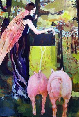 Stephanie Nückel   Grüne Auenl   130 x 90 cm    Acryl auf Leinwand      2016