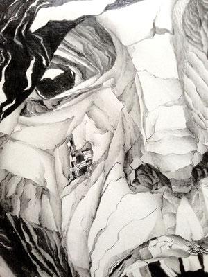 Hass (Detail) - Graphitzeichnung - Heidemarie Franz