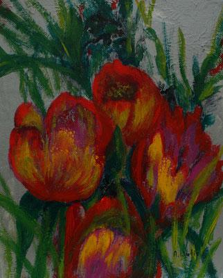 Tulpen 25 x 30 cm Acryl, Pouring  2021