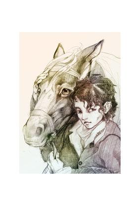 Hobbit mit Pony - freie Bleistiftzeichnung