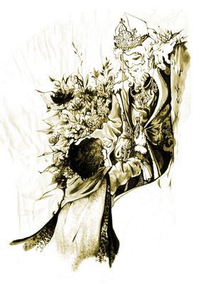 Hobbit + König - Tuschzeichnung in sepia auf freier Bleistitskizze