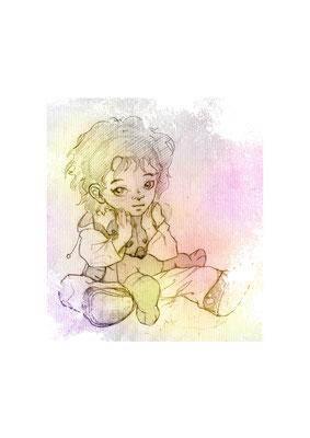 kleiner Hobbit mit Teddy - freie Bleistiftzeichnung