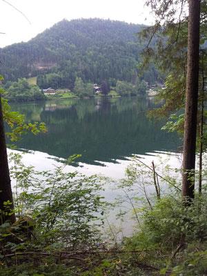 Der Blick von der Bank aus auf den See