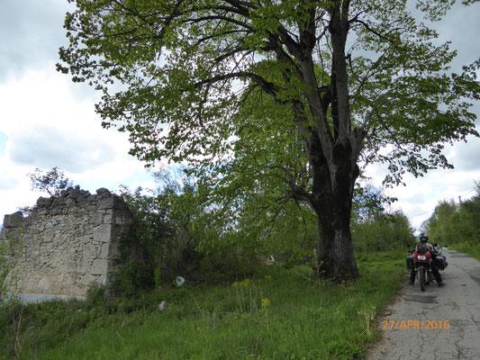Wie links im Bild zu sehen fanden wir noch viel mehr solcher Häuserruinen