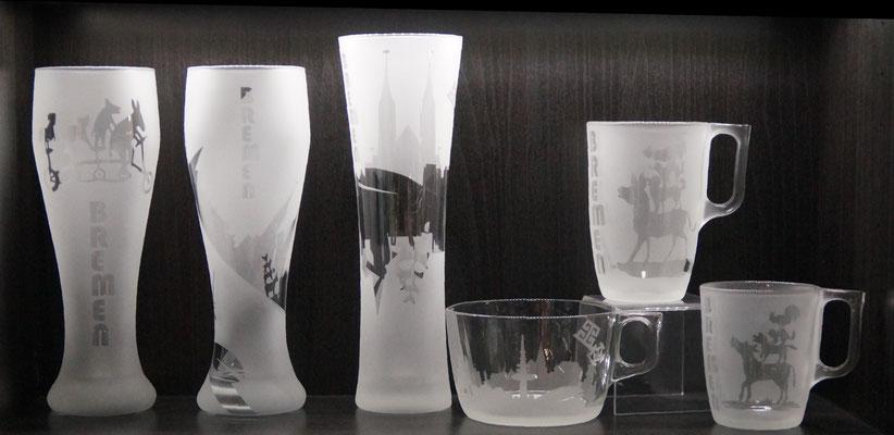 Gläser mit Bremer Motiv 1