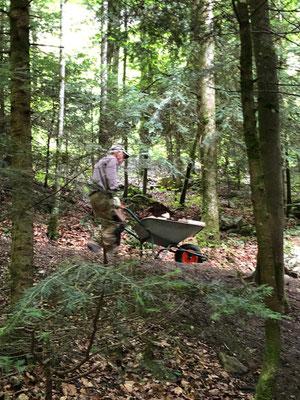 aber auch hier, manueller Transport des fertigen Brennholzes zu den Feuerstellen geht nur per Piede und Schubkarren