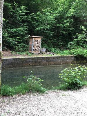 Und hier beim Spritzbrunnen, alles wieder gerichtet und gefüllt.
