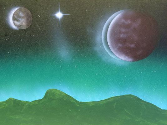 Smaragd Space / Foto Cardboard A4