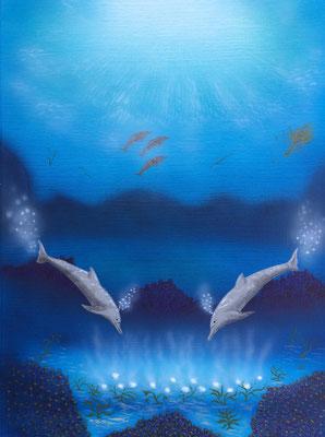 Curious Dolphins / Canvas Paper ca. 30x40cm