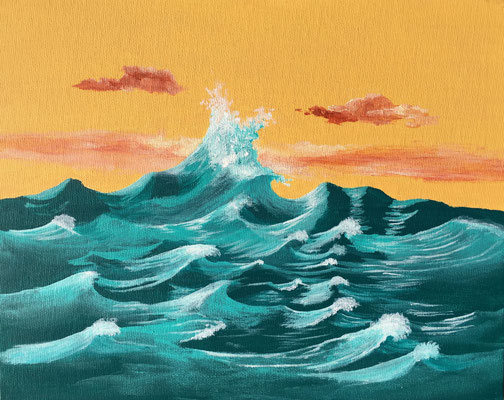 Waves / Acryl on Canvas Board 24x30cm