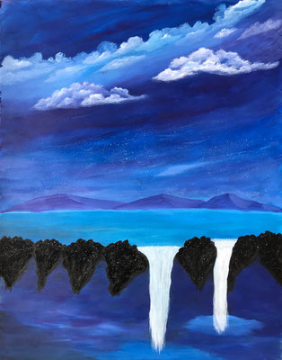 Surreal Waterfall /  / Canvas Paper 50x64cm