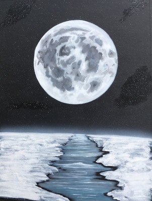 Cold Moon / Canvas Sheet 36x48cm