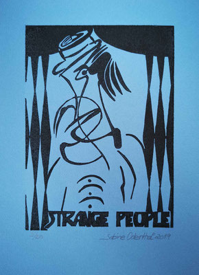 """Strange People I"" - Linolschnitt 2019 / 21 x 15 cm auf 28,5 x 18 cm Farbpapier"
