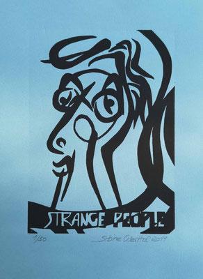 """Strange People III"" - Linolschnitt 2019 / 21 x 15 cm auf 28,5 x 18 cm Farbpapier"