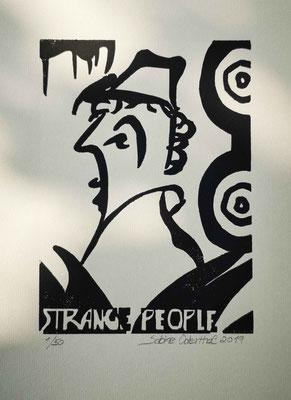 """Strange People II"" - Linolschnitt 2019 / 21 x 15 cm auf 28,5 x 18 cm Farbpapier"