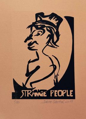"""Strange People IV"" - Linolschnitt 2019 / 21 x 15 cm auf 28,5 x 18 cm Farbpapier"