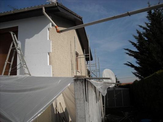 chantier d'isolation extérieure d'une maison