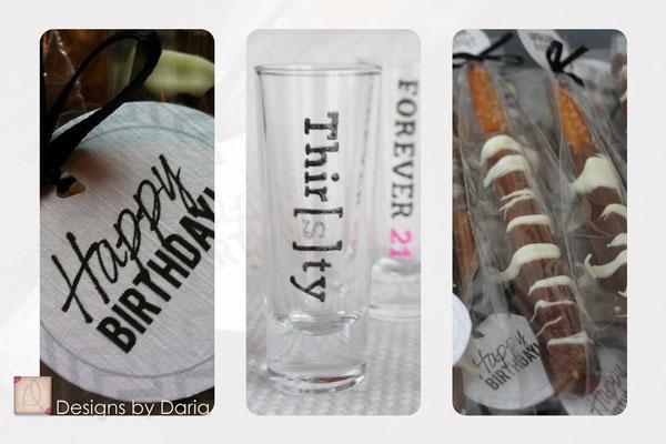 Handmade thirtieth birthday party favors; April 2013