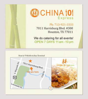 business card design for China 101 Express; Houston, TX, 2013