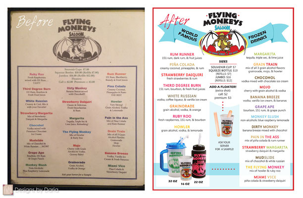 Drink Menu redesign for Fogarty's Flying Monkey Saloon; Key West, FL, 2014