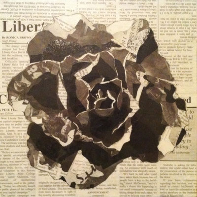 Newsblossom; newspaper and glue, 2006
