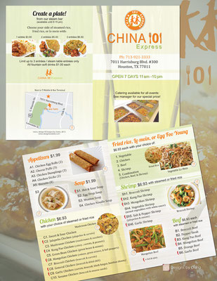menu design for China 101 Express; Houston, TX, 2013