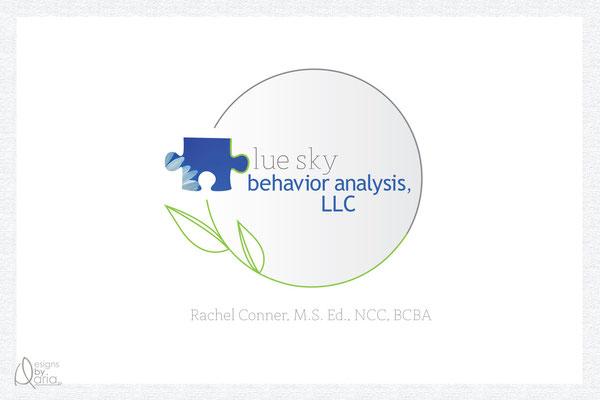 Blue Sky Behavior Analysis, LLC, logo and business card design; May 2012