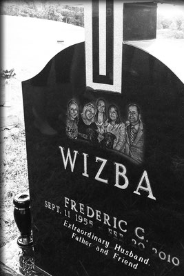 Hand-drawn portrait of Fred Wizba and family, etched onto his headstone at Mt. Calvary Cemetery, Wheeling, WV; June 2011