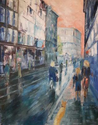 Leidsestraat na de regen 80x100 olieverf op doek €400
