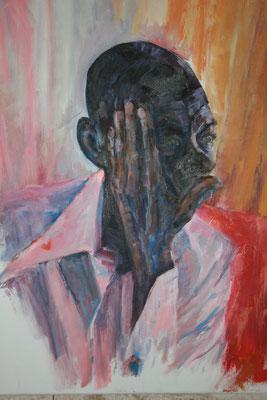 portret' denken' olieverf  op doek 50x70  €250