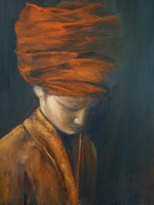 kind met oranje tulband- olieverf op doek-  60x70  €450