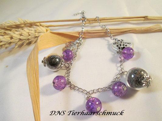 Edelstahlarmband mit Glaskugeln und Perlen