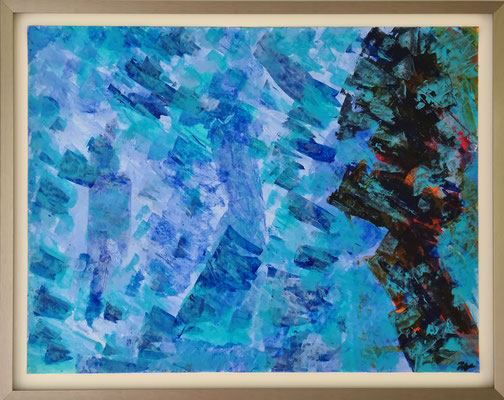 Titel: reflections in blue, equality in humans. 73 x58 cm. Acryl on paper. April 2021. Prijs € 450,-