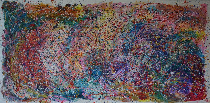 Titel: Happy Wall, 100 x 200 cm, acryl op linnen (aluframe), december 2019, Prijs € 1195,-.