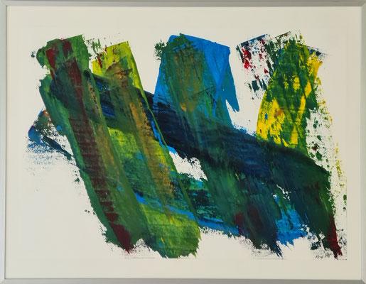 Titel: Verbonden in groen, blauw en geel. 67 x 52 cm. Oil on paper April 2021. Prijs € 300,-